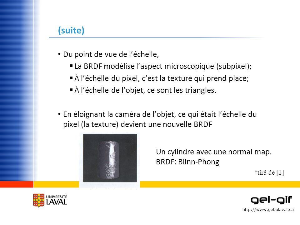 http://www.gel.ulaval.ca (suite) Du point de vue de léchelle, La BRDF modélise laspect microscopique (subpixel); À léchelle du pixel, cest la texture