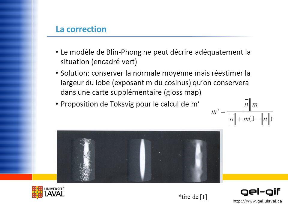 http://www.gel.ulaval.ca La correction Le modèle de Blin-Phong ne peut décrire adéquatement la situation (encadré vert) Solution: conserver la normale