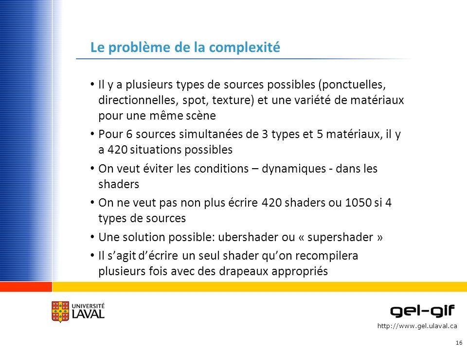 http://www.gel.ulaval.ca Le problème de la complexité Il y a plusieurs types de sources possibles (ponctuelles, directionnelles, spot, texture) et une