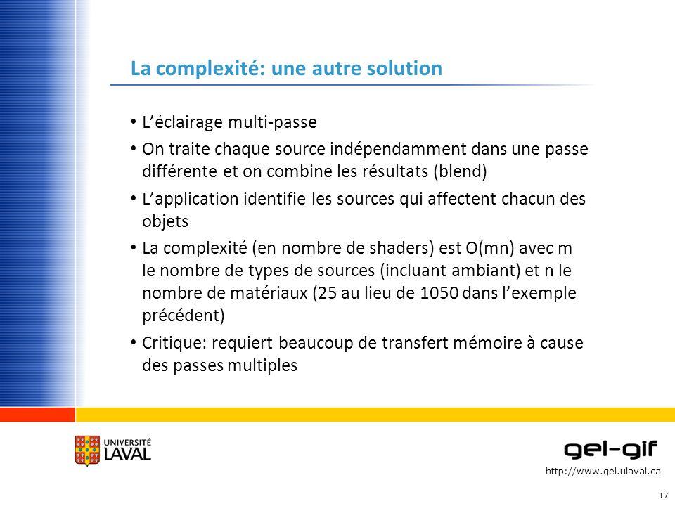http://www.gel.ulaval.ca La complexité: une autre solution Léclairage multi-passe On traite chaque source indépendamment dans une passe différente et