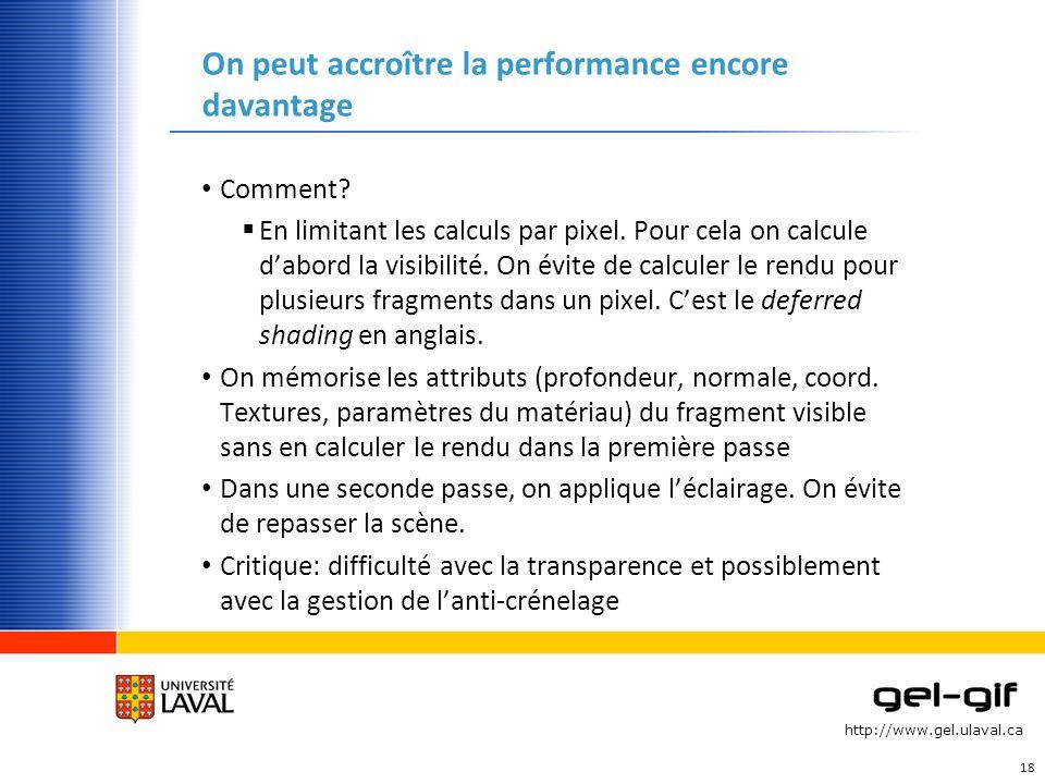 http://www.gel.ulaval.ca On peut accroître la performance encore davantage Comment? En limitant les calculs par pixel. Pour cela on calcule dabord la