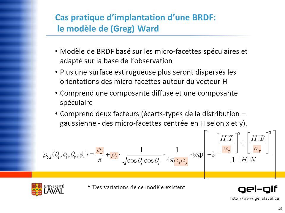 http://www.gel.ulaval.ca Cas pratique dimplantation dune BRDF: le modèle de (Greg) Ward Modèle de BRDF basé sur les micro-facettes spéculaires et adap