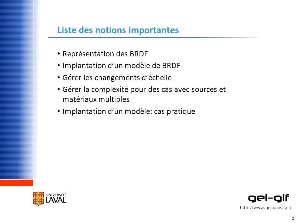 http://www.gel.ulaval.ca Liste des notions importantes Représentation des BRDF Implantation dun modèle de BRDF Gérer les changements déchelle Gérer la