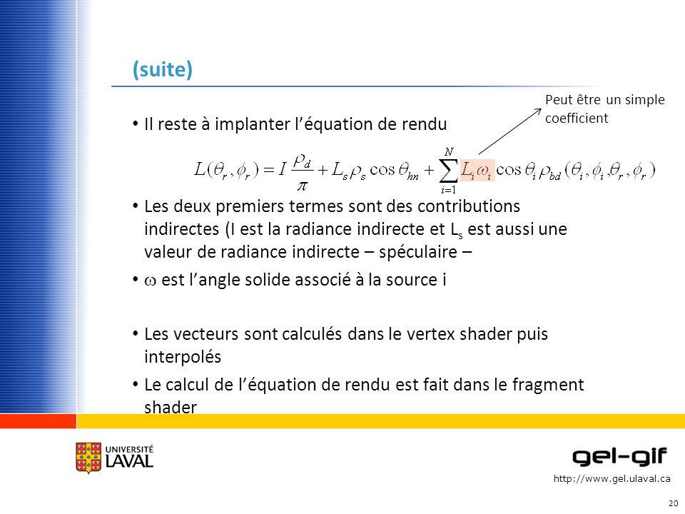 http://www.gel.ulaval.ca (suite) Il reste à implanter léquation de rendu Les deux premiers termes sont des contributions indirectes (I est la radiance
