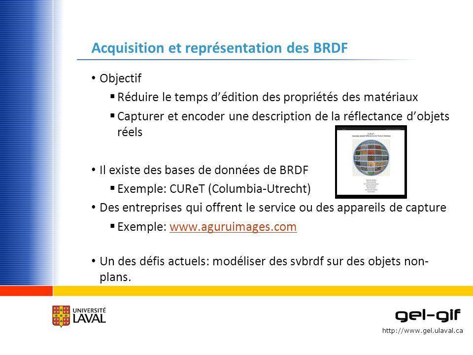 http://www.gel.ulaval.ca Acquisition et représentation des BRDF Objectif Réduire le temps dédition des propriétés des matériaux Capturer et encoder un