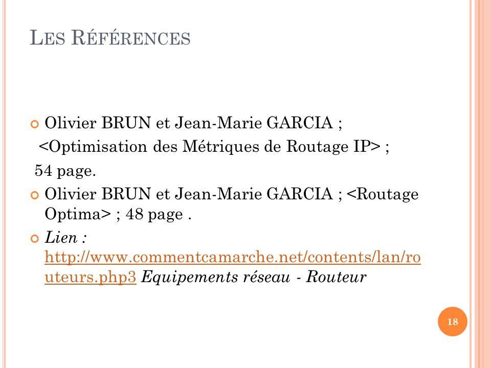 L ES R ÉFÉRENCES Olivier BRUN et Jean-Marie GARCIA ; ; 54 page.