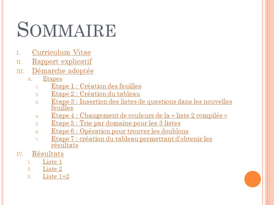 S OMMAIRE I. Curriculum Vitae Curriculum Vitae II.