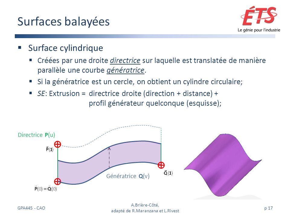 Surface cylindrique Créées par une droite directrice sur laquelle est translatée de manière parallèle une courbe génératrice.