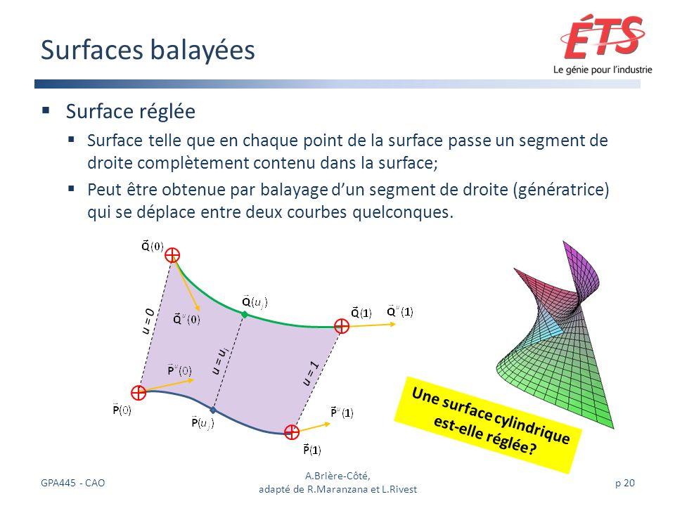 u = u i Surface réglée Surface telle que en chaque point de la surface passe un segment de droite complètement contenu dans la surface; Peut être obtenue par balayage dun segment de droite (génératrice) qui se déplace entre deux courbes quelconques.