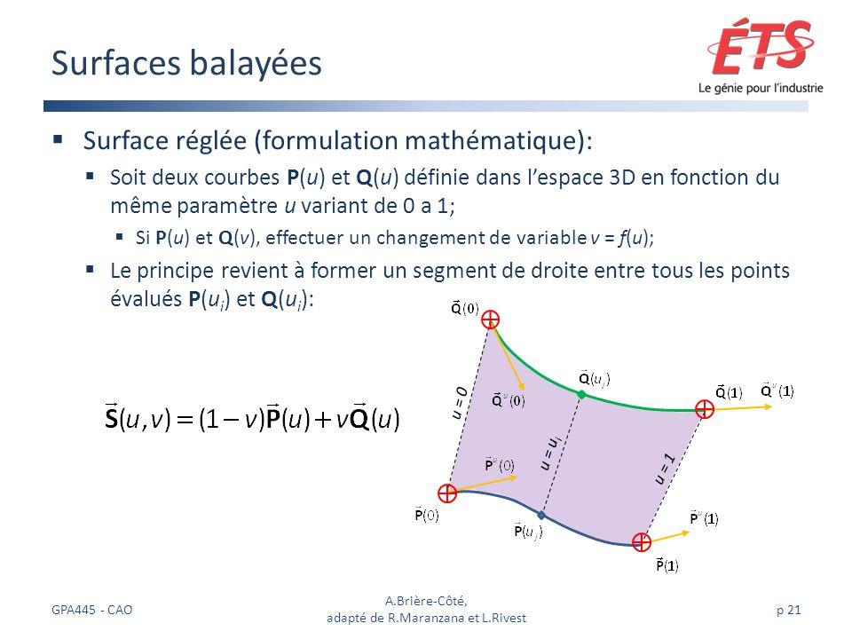 Surface réglée (formulation mathématique): Soit deux courbes P(u) et Q(u) définie dans lespace 3D en fonction du même paramètre u variant de 0 a 1; Si P(u) et Q(v), effectuer un changement de variable v = f(u); Le principe revient à former un segment de droite entre tous les points évalués P(u i ) et Q(u i ): Surfaces balayées GPA445 - CAO A.Brière-Côté, adapté de R.Maranzana et L.Rivest p 21 u = u i u = 0 u = 1