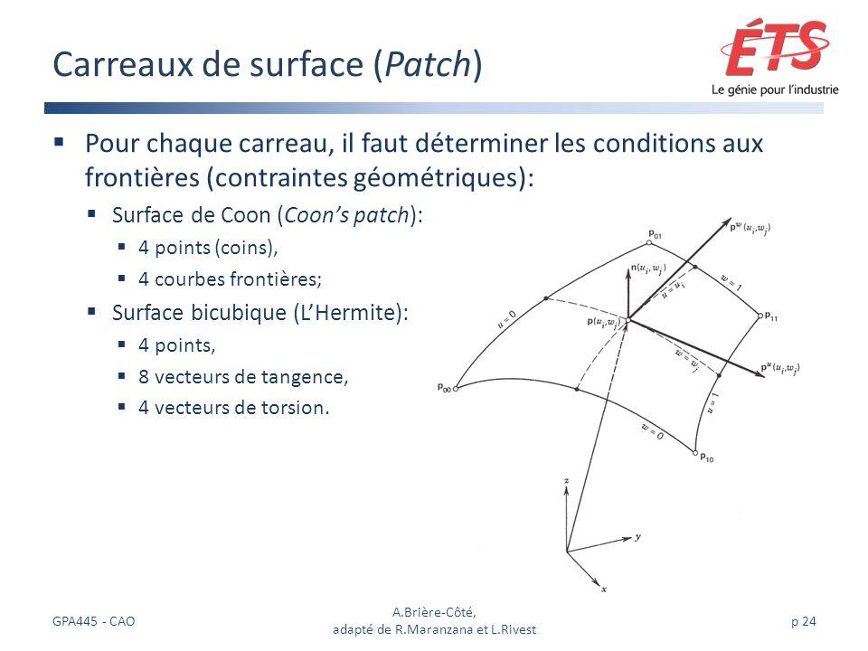 Pour chaque carreau, il faut déterminer les conditions aux frontières (contraintes géométriques): Surface de Coon (Coons patch): 4 points (coins), 4 courbes frontières; Surface bicubique (LHermite): 4 points, 8 vecteurs de tangence, 4 vecteurs de torsion.