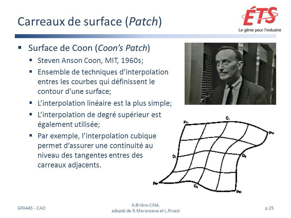 Surface de Coon (Coons Patch) Steven Anson Coon, MIT, 1960s; Ensemble de techniques dinterpolation entres les courbes qui définissent le contour dune surface; Linterpolation linéaire est la plus simple; Linterpolation de degré supérieur est également utilisée; Par exemple, linterpolation cubique permet dassurer une continuité au niveau des tangentes entres des carreaux adjacents.
