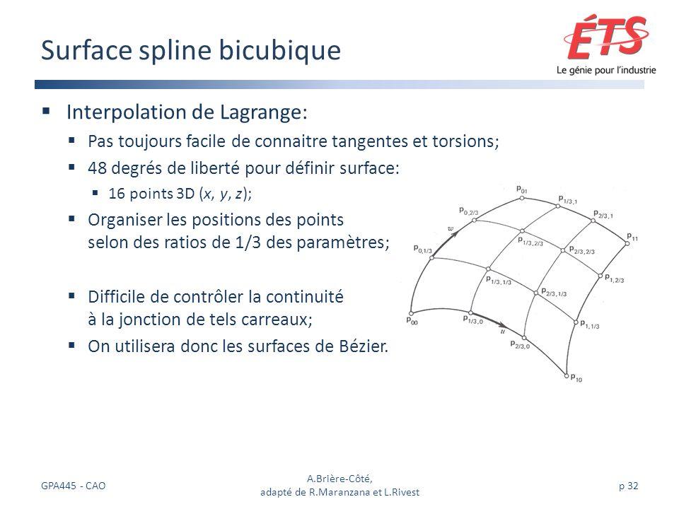 Interpolation de Lagrange: Pas toujours facile de connaitre tangentes et torsions; 48 degrés de liberté pour définir surface: 16 points 3D (x, y, z); Organiser les positions des points selon des ratios de 1/3 des paramètres; Difficile de contrôler la continuité à la jonction de tels carreaux; On utilisera donc les surfaces de Bézier.