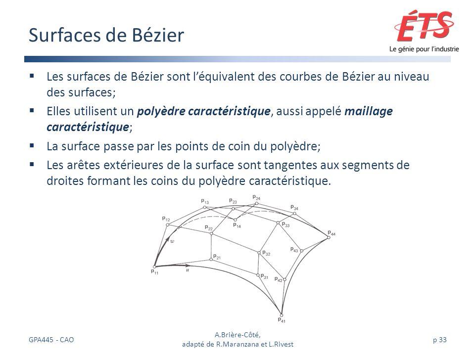 Les surfaces de Bézier sont léquivalent des courbes de Bézier au niveau des surfaces; Elles utilisent un polyèdre caractéristique, aussi appelé maillage caractéristique; La surface passe par les points de coin du polyèdre; Les arêtes extérieures de la surface sont tangentes aux segments de droites formant les coins du polyèdre caractéristique.