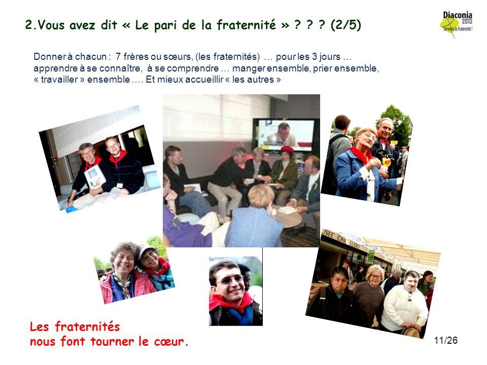 2.Vous avez dit « Le pari de la fraternité » ? ? ? (1/5) Au cœur même de lorganisation de DIACONIA La coopération des associations catholiques (pas de