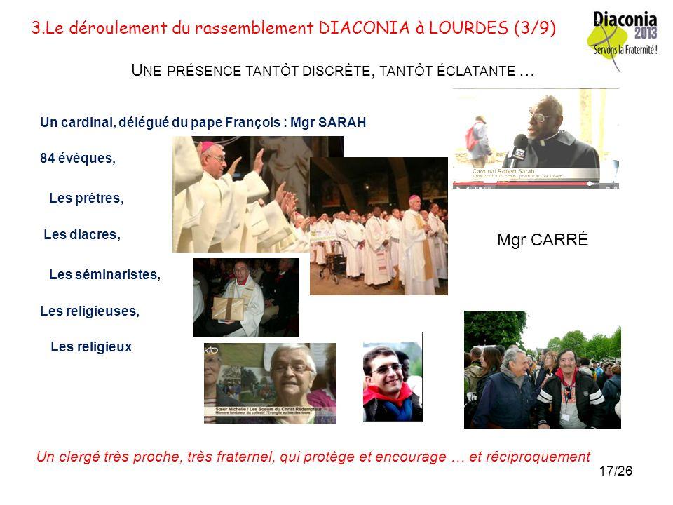 3.Le déroulement du rassemblement DIACONIA à LOURDES (2/9) L ENCADREMENT Les délégués des associations Les délégués des diocèses La ville de Lourdes,