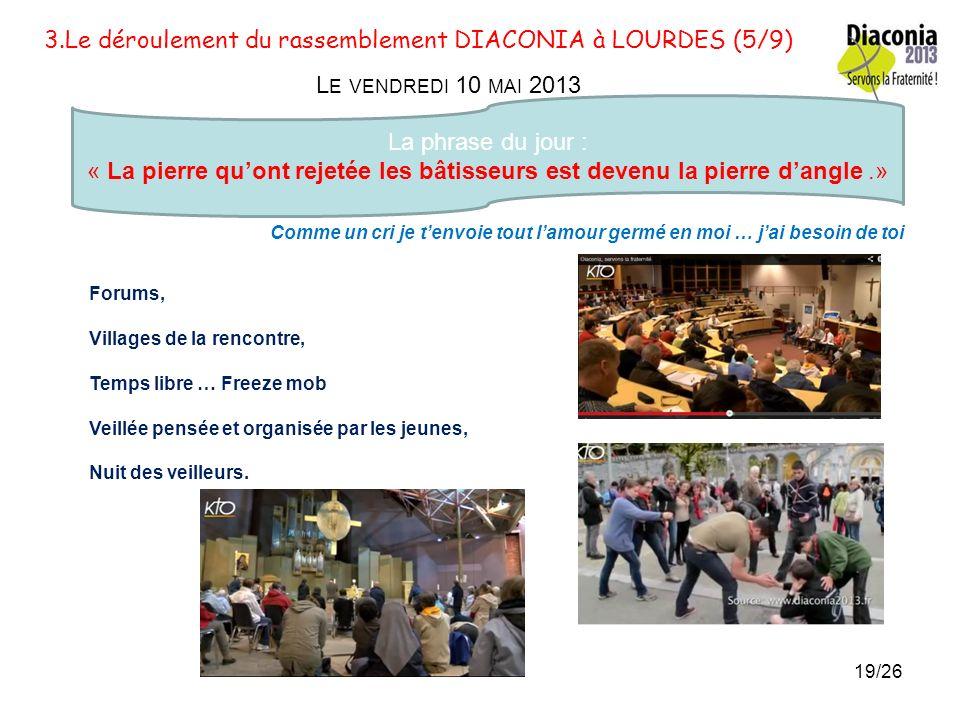 3.Le déroulement du rassemblement DIACONIA à LOURDES (4/9) L E JEUDI 9 MAI 2013 La phrase du jour : « Je suis au milieu de vous comme celui qui sert »