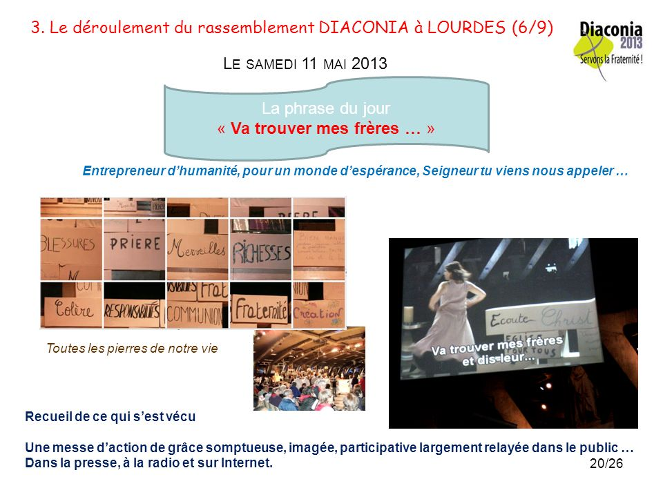3.Le déroulement du rassemblement DIACONIA à LOURDES (5/9) L E VENDREDI 10 MAI 2013 La phrase du jour : « La pierre quont rejetée les bâtisseurs est d