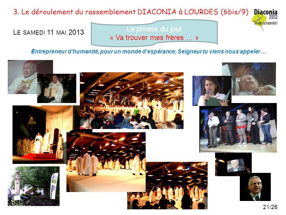 3. Le déroulement du rassemblement DIACONIA à LOURDES (6/9) L E SAMEDI 11 MAI 2013 La phrase du jour « Va trouver mes frères … » Entrepreneur dhumanit