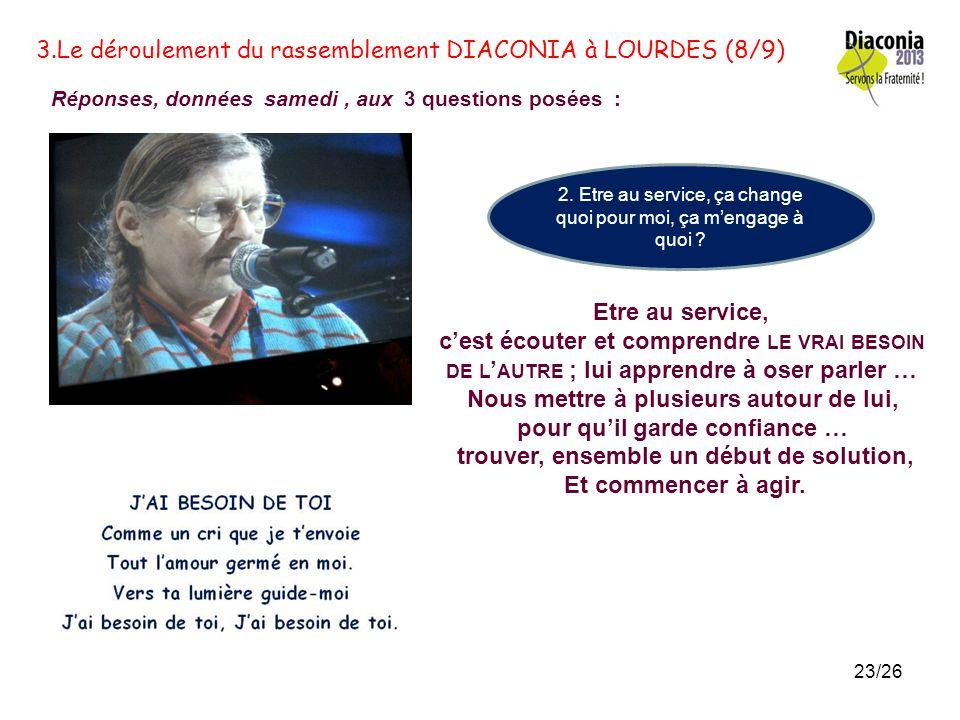 3.Le déroulement du rassemblement DIACONIA à LOURDES (7/9) Réponses, données samedi, aux 3 questions posées : 1. Quest-ce que je découvre de TOI, à tr