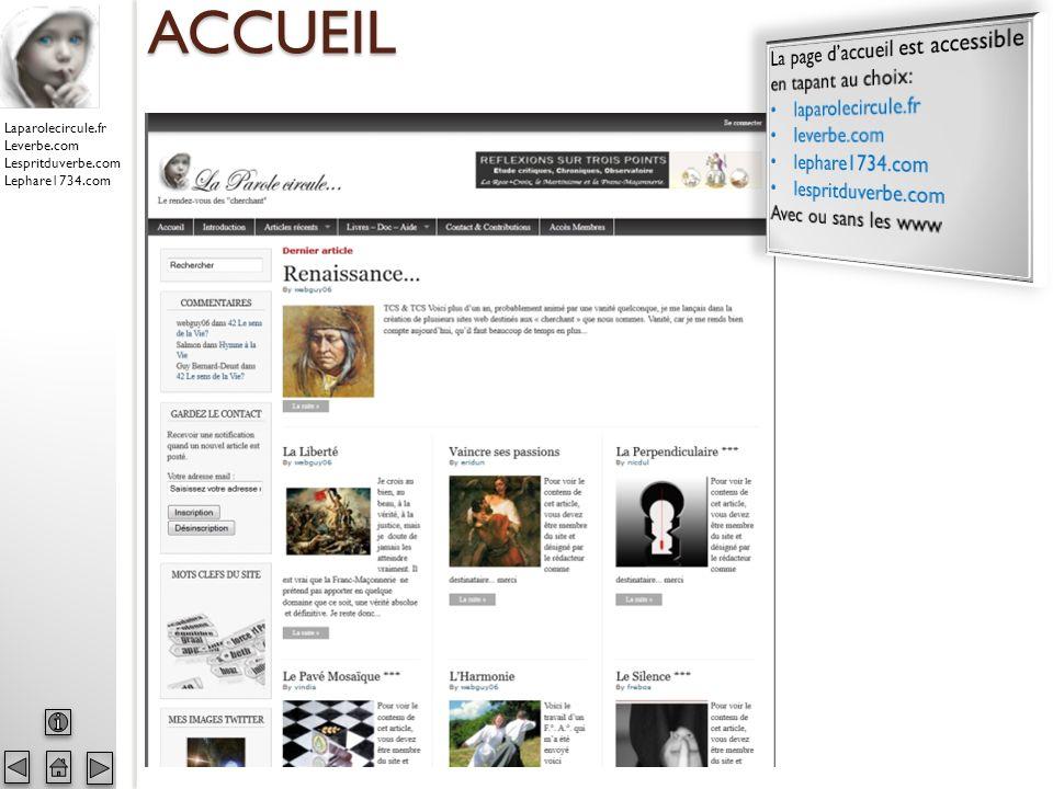 Laparolecircule.fr Leverbe.com Lespritduverbe.com Lephare1734.com CONTRIBUTIONS