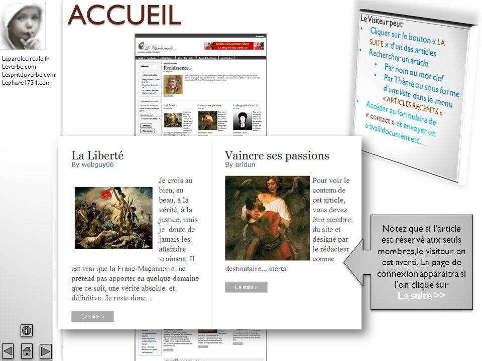 Laparolecircule.fr Leverbe.com Lespritduverbe.com Lephare1734.com ACCUEIL Notez que si larticle est réservé aux seuls membres, le visiteur en est averti.