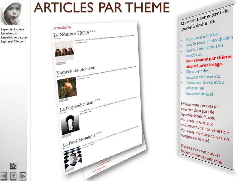 Laparolecircule.fr Leverbe.com Lespritduverbe.com Lephare1734.com ARTICLES PAR THEME