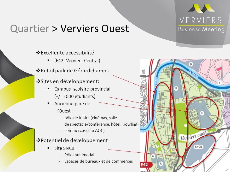 Excellente accessibilité (E42, Verviers Central) Retail park de Gérardchamps Sites en développement: Campus scolaire provincial (+/- 2000 étudiants) A