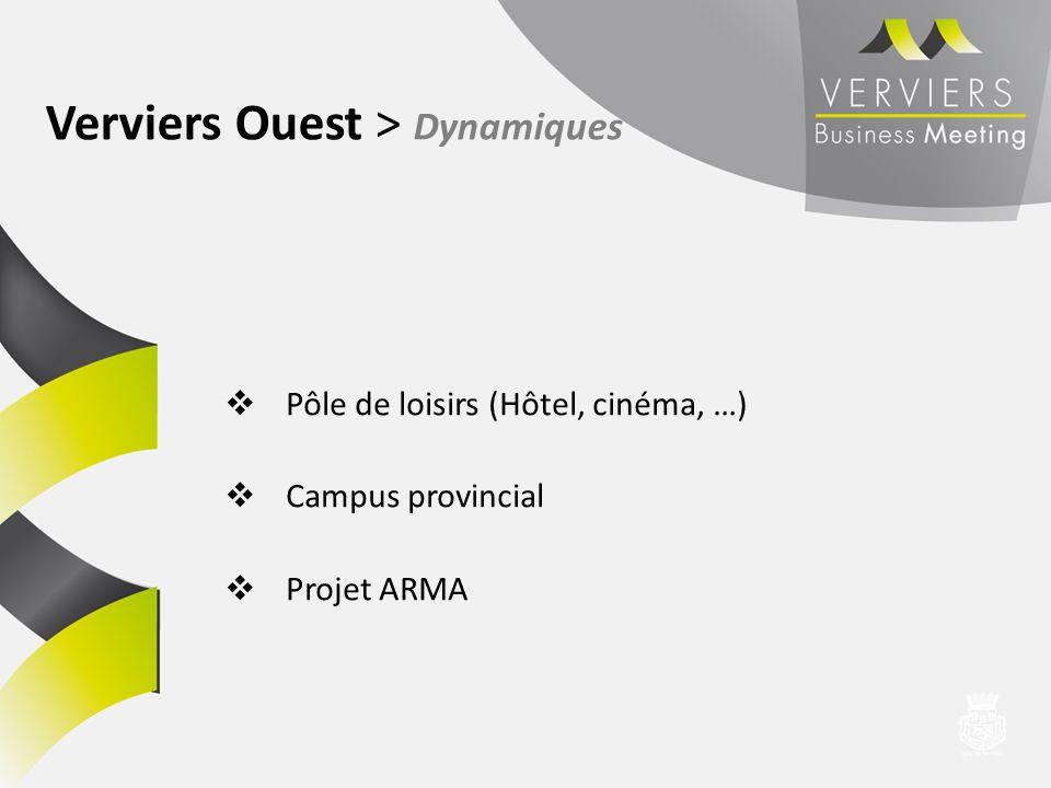 Pôle de loisirs (Hôtel, cinéma, …) Campus provincial Projet ARMA Verviers Ouest > Dynamiques