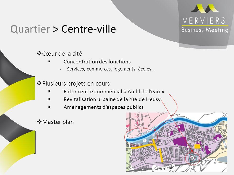 Cœur de la cité Concentration des fonctions -Services, commerces, logements, écoles… Plusieurs projets en cours Futur centre commercial « Au fil de le