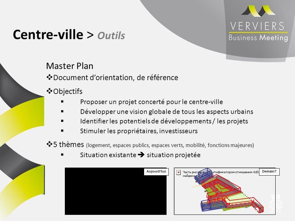 Master Plan Document dorientation, de référence Objectifs Proposer un projet concerté pour le centre-ville Développer une vision globale de tous les a