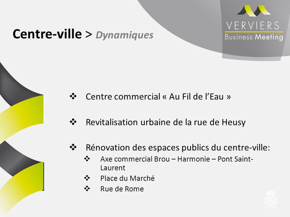 Centre commercial « Au Fil de lEau » Revitalisation urbaine de la rue de Heusy Rénovation des espaces publics du centre-ville: Axe commercial Brou – H