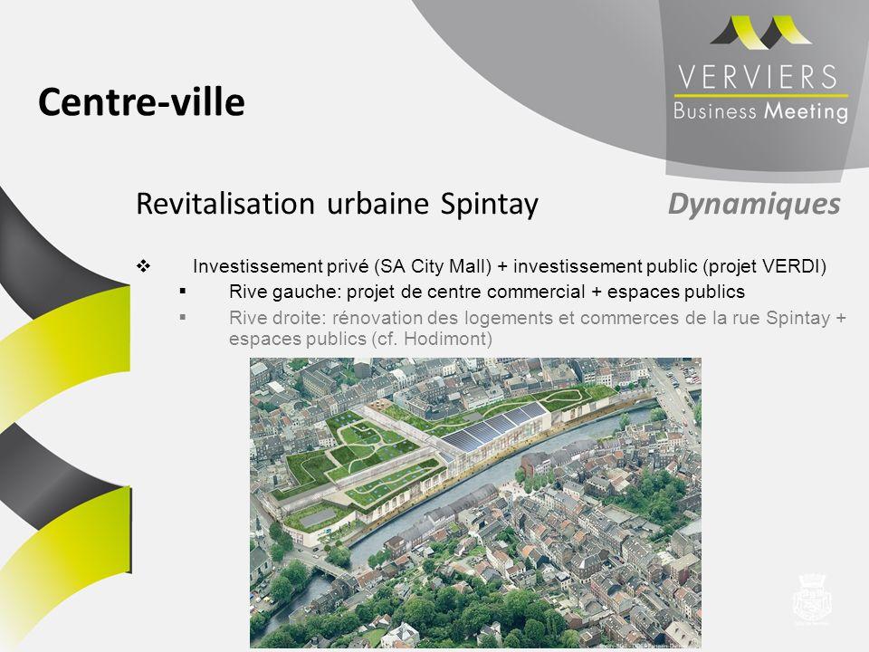 Revitalisation urbaine Spintay Dynamiques Investissement privé (SA City Mall) + investissement public (projet VERDI) Rive gauche: projet de centre com