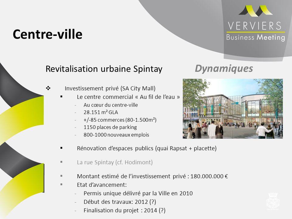 Revitalisation urbaine Spintay Dynamiques Investissement privé (SA City Mall) Le centre commercial « Au fil de leau » -Au cœur du centre-ville -28.151