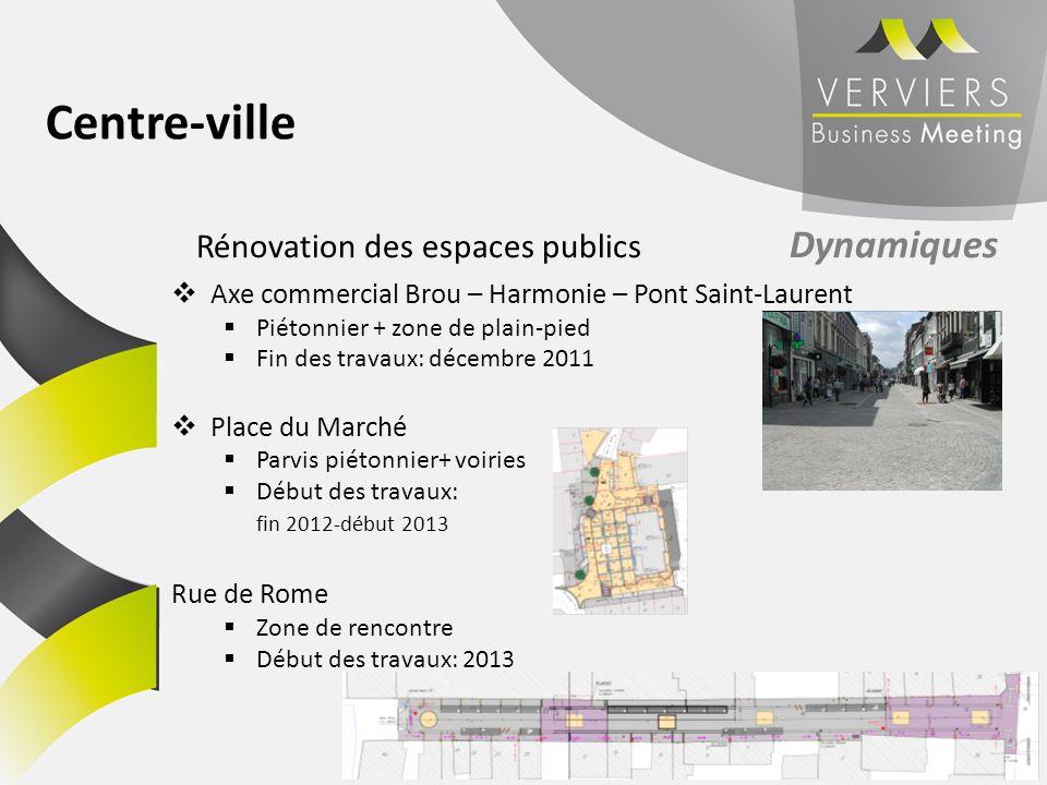 Axe commercial Brou – Harmonie – Pont Saint-Laurent Piétonnier + zone de plain-pied Fin des travaux: décembre 2011 Place du Marché Parvis piétonnier+