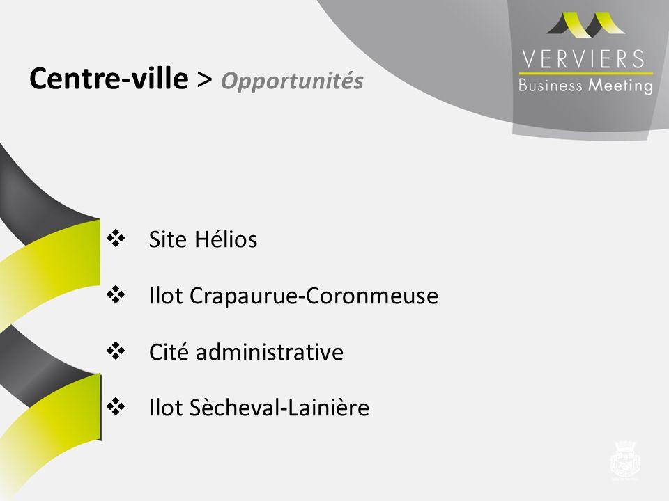 Site Hélios Ilot Crapaurue-Coronmeuse Cité administrative Ilot Sècheval-Lainière Centre-ville > Opportunités