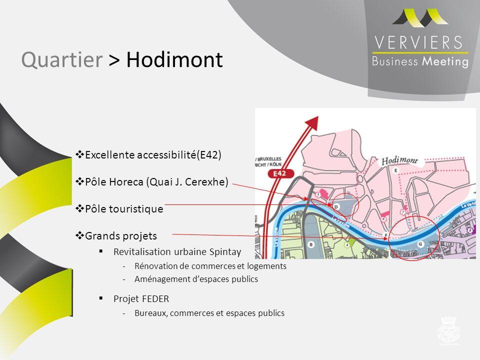 Excellente accessibilité(E42) Pôle Horeca (Quai J. Cerexhe) Pôle touristique Grands projets Revitalisation urbaine Spintay -Rénovation de commerces et