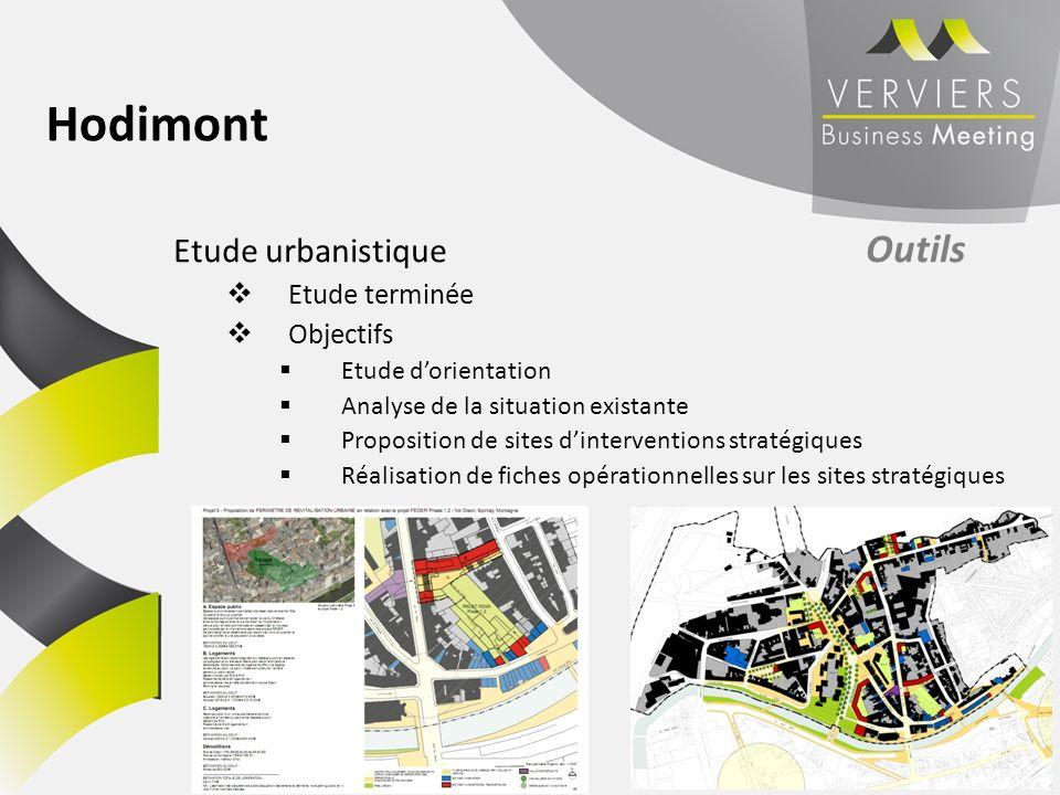 Etude urbanistique Outils Etude terminée Objectifs Etude dorientation Analyse de la situation existante Proposition de sites dinterventions stratégiqu