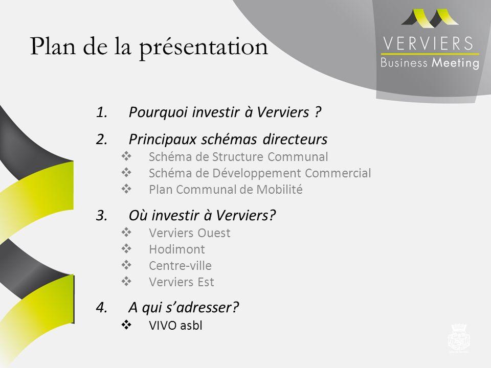 Plan de la présentation 1.Pourquoi investir à Verviers ? 2.Principaux schémas directeurs Schéma de Structure Communal Schéma de Développement Commerci