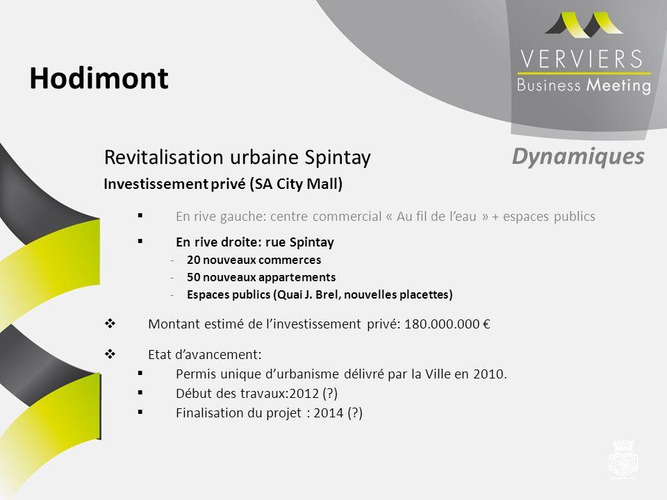 Revitalisation urbaine Spintay Dynamiques Investissement privé (SA City Mall) En rive gauche: centre commercial « Au fil de leau » + espaces publics E