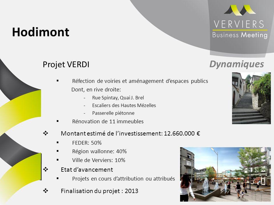 Projet VERDI Dynamiques Réfection de voiries et aménagement despaces publics Dont, en rive droite: -Rue Spintay, Quai J. Brel -Escaliers des Hautes Mé