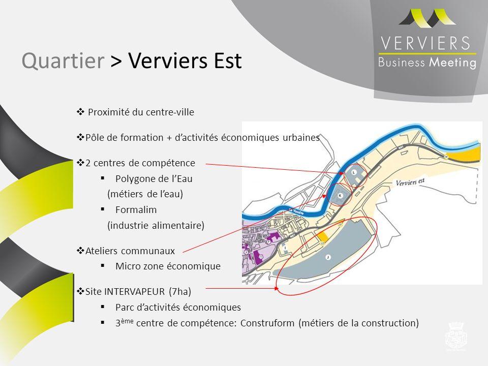 Proximité du centre-ville Pôle de formation + dactivités économiques urbaines 2 centres de compétence Polygone de lEau (métiers de leau) Formalim (ind