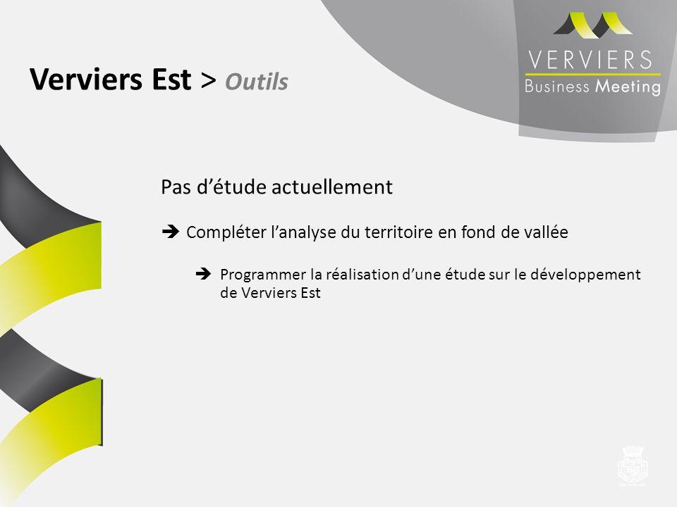 Verviers Est > Outils Pas détude actuellement Compléter lanalyse du territoire en fond de vallée Programmer la réalisation dune étude sur le développe