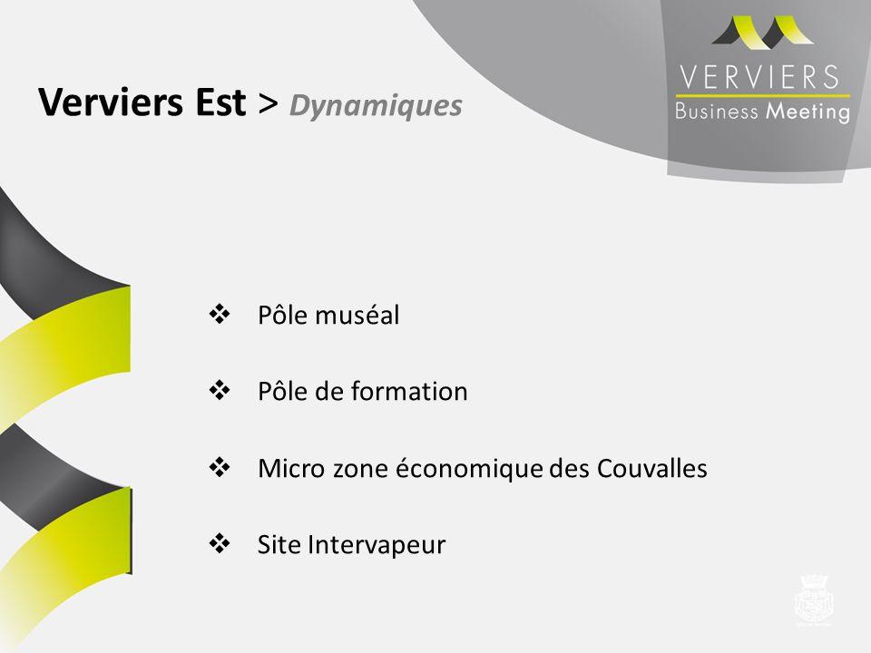 Pôle muséal Pôle de formation Micro zone économique des Couvalles Site Intervapeur Verviers Est > Dynamiques
