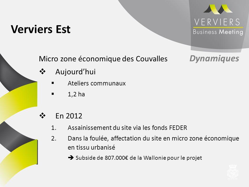 Micro zone économique des Couvalles Dynamiques Aujourdhui Ateliers communaux 1,2 ha En 2012 1.Assainissement du site via les fonds FEDER 2.Dans la fou