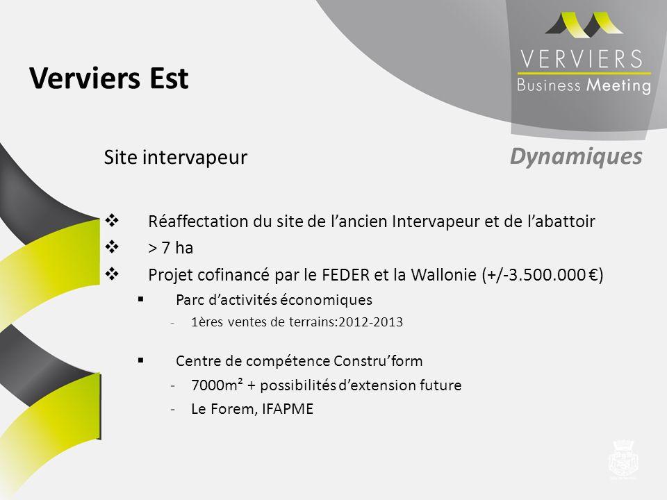 Site intervapeur Dynamiques Réaffectation du site de lancien Intervapeur et de labattoir > 7 ha Projet cofinancé par le FEDER et la Wallonie (+/-3.500