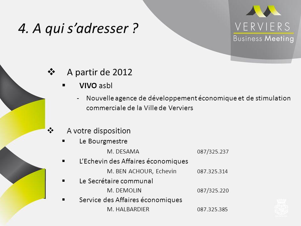 4. A qui sadresser ? A partir de 2012 VIVO asbl -Nouvelle agence de développement économique et de stimulation commerciale de la Ville de Verviers A v