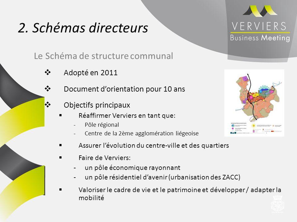 2. Schémas directeurs Adopté en 2011 Document dorientation pour 10 ans Objectifs principaux Réaffirmer Verviers en tant que: -Pôle régional -Centre de
