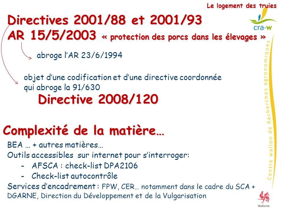 Directives 2001/88 et 2001/93 AR 15/5/2003 « protection des porcs dans les élevages » Le logement des truies objet dune codification et dune directive