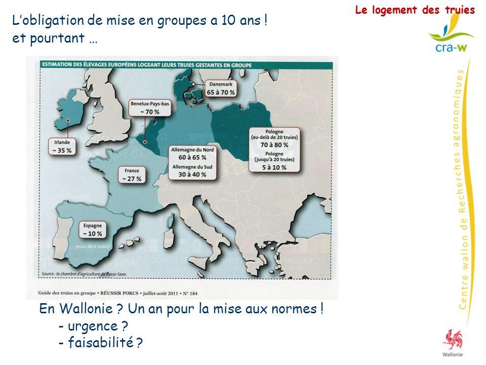Le logement des truies Lobligation de mise en groupes a 10 ans ! et pourtant … En Wallonie ? Un an pour la mise aux normes ! - urgence ? - faisabilité